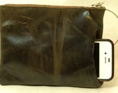 Luna Jaze distressed black/green  Pouch with bangle handle and RIRI zipper