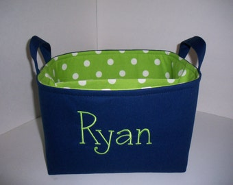 Large Diaper Caddy / Organizer Bin / Navy Blue Green Polka Dots - Personalization Available