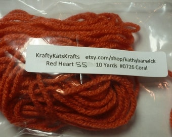 10 Yards Red Heart Super Saver Yarn #0726 Coral