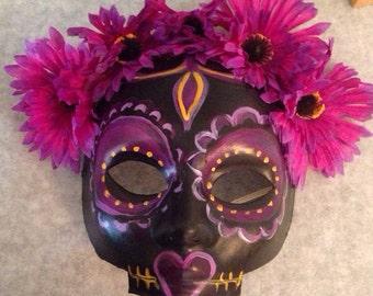 Day of the Dead Masquerade Black and Purple Sugar Skull Mask Calavera