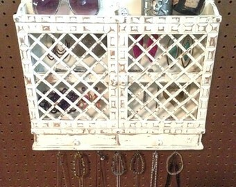 Upcycled Jewelry Organizing Display (White Cabinet)
