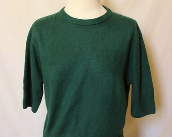 90s Express Sweater Vintage Tricot Shirt Hunter Green Top Medium Short Sleeve Jumper Women Super Soft