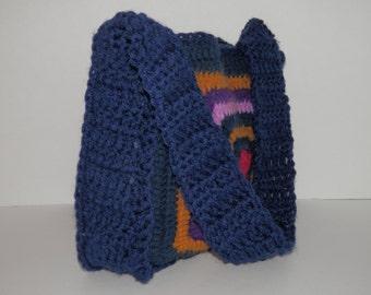 "Vtg 10"" Square Granny Crochet Purse Retro Multicolor Navy Blue Mustard Purple Hippie Bohemian Style Eco Craft Project School Market EUC Bag"