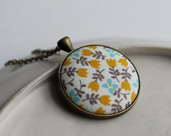 Floral Jewelry, Boho Necklace, Mustard Yellow Flower Necklace, Blue Yellow Necklace, Floral Fabric Pendant, Cute Necklace, Floral Pendant