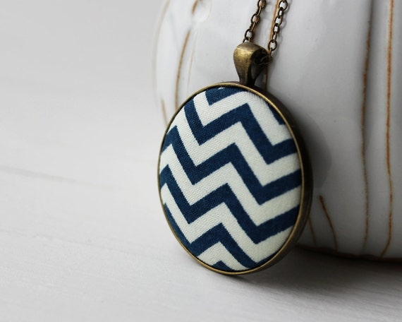Navy White Chevron Jewelry, White, Navy Blue, Gold Brass Pendant, Navy Chevron Necklace Geometric Jewelry Chevron Pendant Navy Pendant