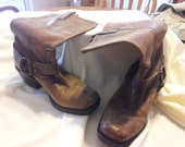 brown distressed flat nosed, ring sided cowboy boots - size 8