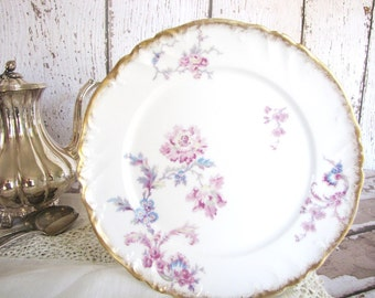 Antique Limoges Plate  Wedding China Serving Dessert Plate Gold Rim Mix and Match China Rare from AllieEtCie