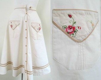 Cotton Embroidered Circle Skirt Vintage 1970s