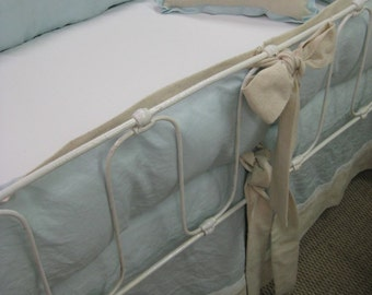 Tailored Crib Bedding - Pastel Blue Washed Linen, Natural Cotton, and White Washed Linen