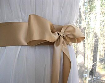 Champagne wedding sash, bridal sash, bridesmaid sash, bridal belt, dress sash, gown sash, 2-1/2, 2.5 inch satin