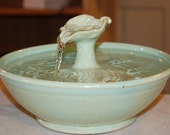 "Ceramic Cat Fountain, Handmade, Foodsafe -  ""Lemon Leaf"" - 10.5 Inch Diameter"