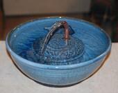"Ceramic Pet Fountain, Handmade, Food safe -""Serenity Blue""- 9.50 Inch Diameter"