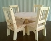 Handmade Round Table and 4 Chairs for 18 inch doll