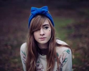 Royal Blue Knitted Bow Headband, Knitted Headband, Oversized Bow Headband, Cute and Cosy Ear Warmer