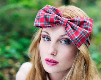 Tartan Bow Headband, Red Tartan Headband, Dolly Bow, Oversized Bow Headband, Rockabilly Pin Up Girl Headband, Tartan Hair Bow