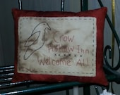 Prim Stitchery Crow Hollow Inn Fall Pillow ~ HHCOFG
