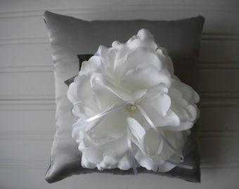 White Rose Ring Bearer Pillow