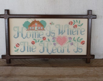 Vintage Framed Cross Stitch- Home is Where the Heart Is