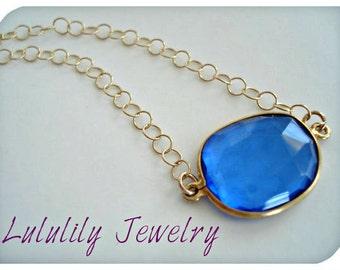 Blue Necklace, Quartz Necklace, Minimalist Necklace, Blue Bridal Jewelry, Everyday Necklace