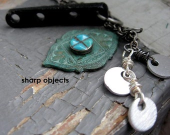 ENTRADA - layered tribal verdigris metalwork, silver disc tags, carved bone, sterling & turquoise charm chain NECKLACE