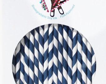 Navy Stripe Paper Straws Box of 144