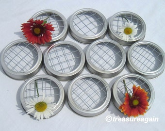 10 Mason Jar Flower Lids Frogs for Mason Jar Centerpieces