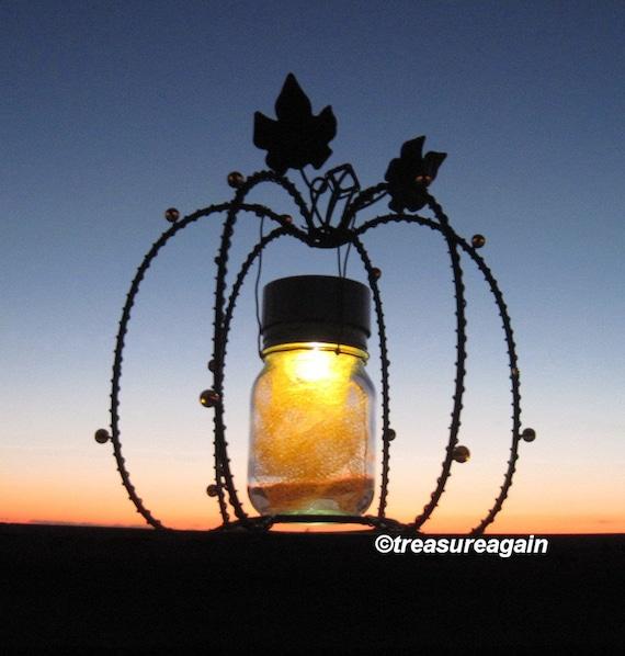 solar pumpkin outdoor decor for fall holiday by treasureagain. Black Bedroom Furniture Sets. Home Design Ideas