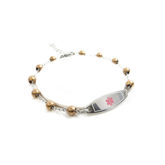 Medical Id Bracelet Black Engraving Beaded Pink Symbol