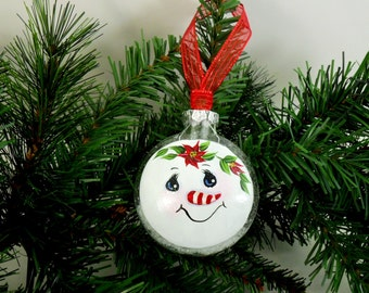 Snowman Ornament Candy Cane Nose Red Poinsettia Hand Painted Glass