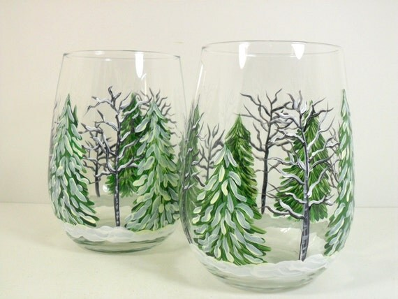 Stemless wine glasses hand painted winter forest set of 2 for Painted stemless wine glasses