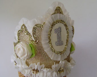1st Birthday Crown, Hat -  or customize with any number or banner- Gold Glitter
