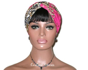 Pink Turban, Gold Shimmer Foil, Women's Handmade Fashion, Twist, Metallic, Pink Turban Hat, Festive