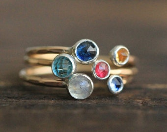 Two Gemstone, Double Birthstone Adjustable Stacking Ring Set -  Recycled Sterling Silver & 14k Gold Gemstone Ring By Pale Fish NY, R007