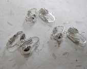 Three Pairs Sterling Silver Clip-On Earring Components