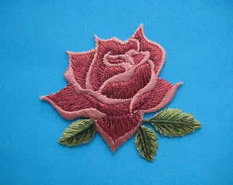 Iron-On embroidered Patch Red Rose 2.4 inch