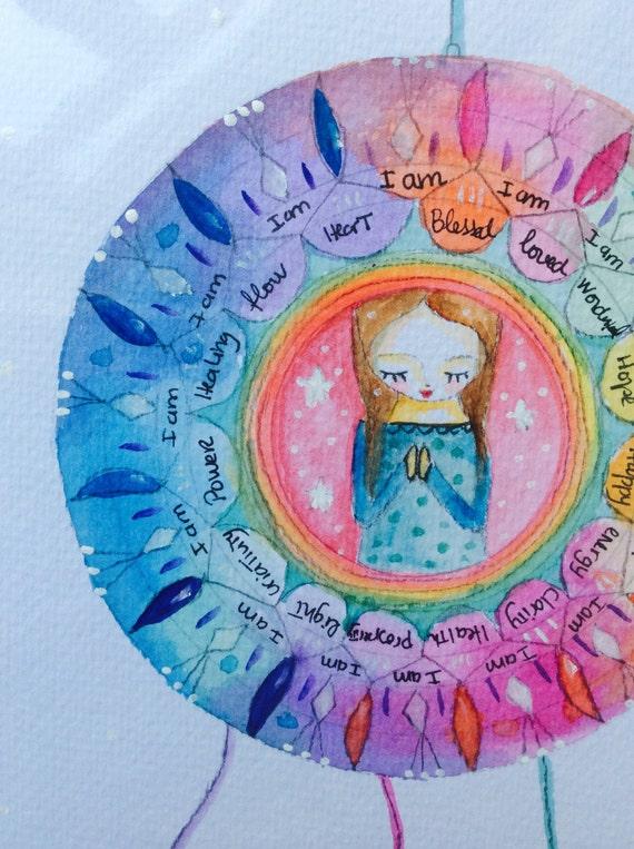Custom Mother woman blessing mandala - wall art original watercolor painting rainbow colors dream catcher boho
