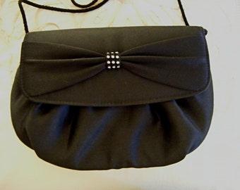 Vintage Handbag Purse Black Satin Handbag with Rhinestones