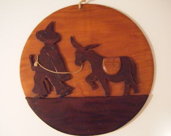 Vintage Plaque Southwest Wall Hanging Wood Wall Hanging 1950s