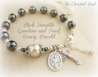 Black Hematite Gemstone & Pearl Rosary Bracelet