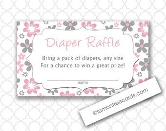 Pink and Gray Daisy Diaper Raffle Tickets, instant download, printable girl baby shower games, 3462