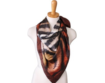Vintage 90s Nicole Miller Studio Animal Print Scarf - Brown Black Silk - Designer Fashion
