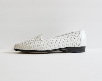 Vintage 80s White Trotters Liz Woven Loafers - Women 5M - Summer Shoes