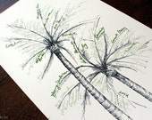 Palms guestbook alternative tree, hand drawn design (with pen)- Great host/hostess gift