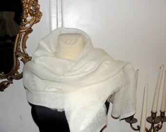 Scarf, shawl LINEN white,  collection  spring  2014 , wrap,gift,bolero