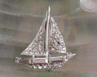 1950's Rhinestone Ship Pin