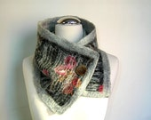Nuno Feted Scarf Floral Felt Neck Warmer Gray Burgundy Black Color Felted Gift For Her OOAK Scarf