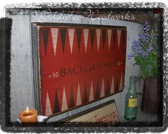 Backgammon,Folk Art, Wall Art, Game Board