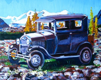 Ford Model A Automobile Print, Gift for Mechanic, Gift for Grandfather, Ford Painting, Gift for Dad, Gift for Brother, Boy's Room Car Decor