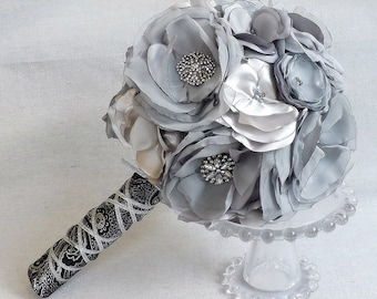 Fabric Flower Bouquet in Shades of Grey with Rhinestones and Brocade