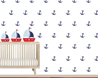 Nursery Wall Decal Anchor Boat Vinyl Decal Set